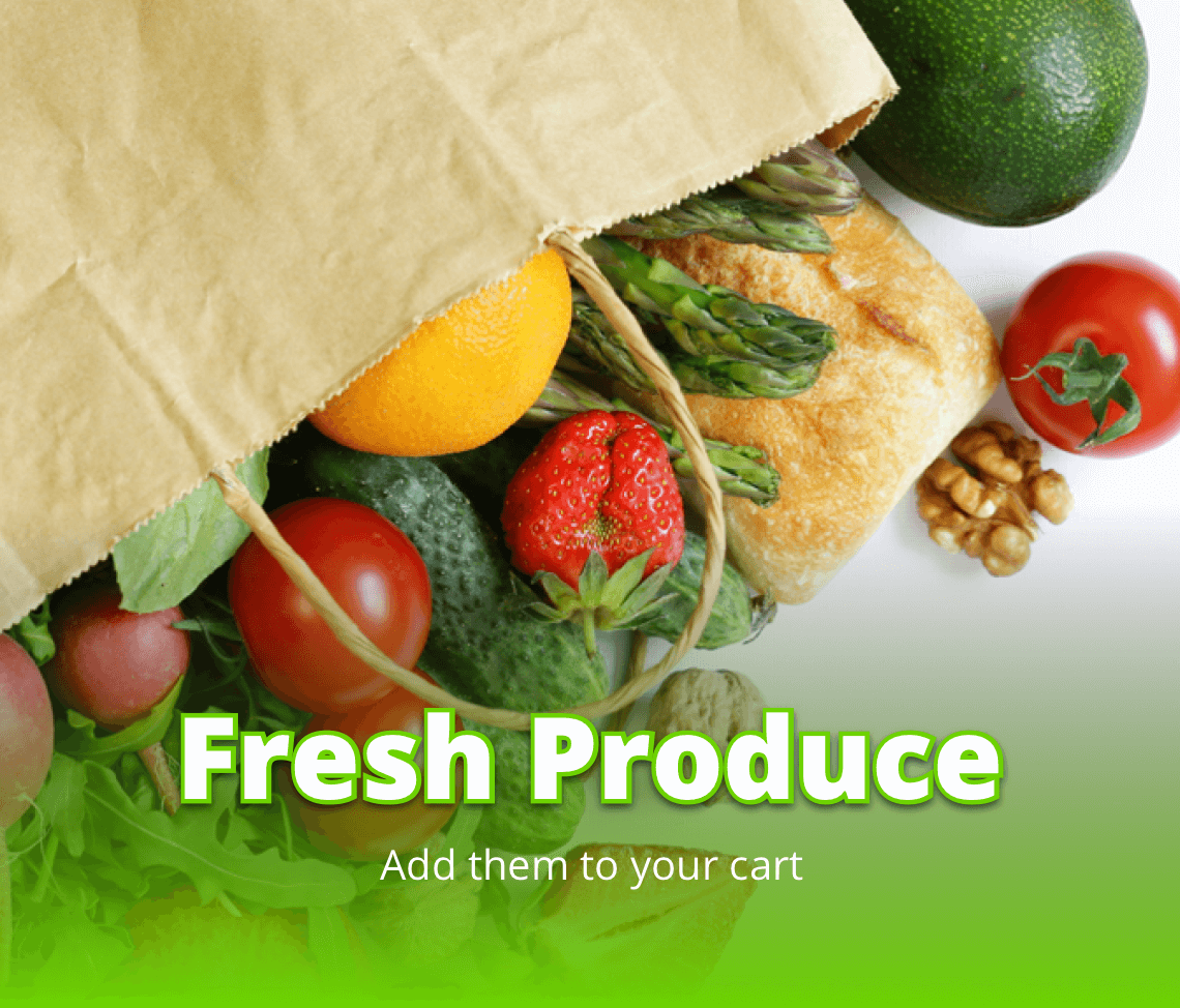 Grocery bag with produce.